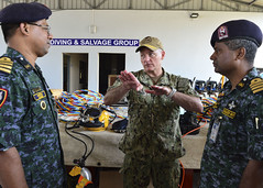 Rear Adm. Joey Tynch speaks with senior delegates of the Special Warfare Diving and Salvage community following the opening of exercise CARAT, Nov. 4. (U.S. Navy/MC2 Tristin Barth)