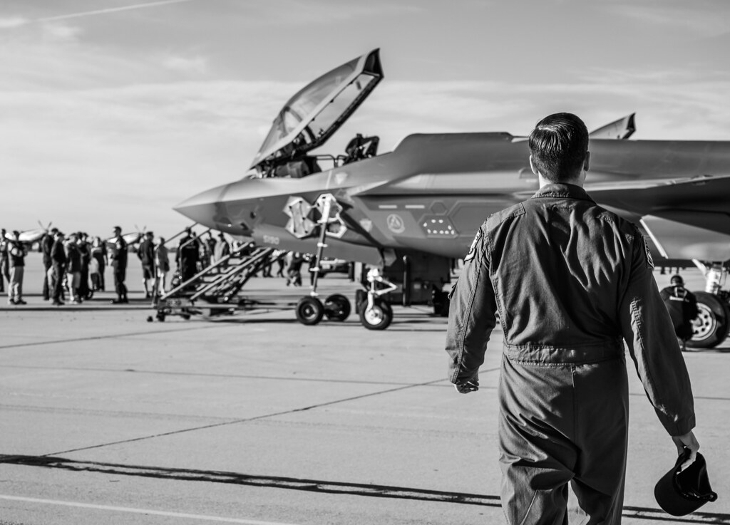 "Capt. Andrew ""Dojo"" Olson, F-35 Demonstration Team pilot and commander steps to an Lockheed Martin F-35A"
