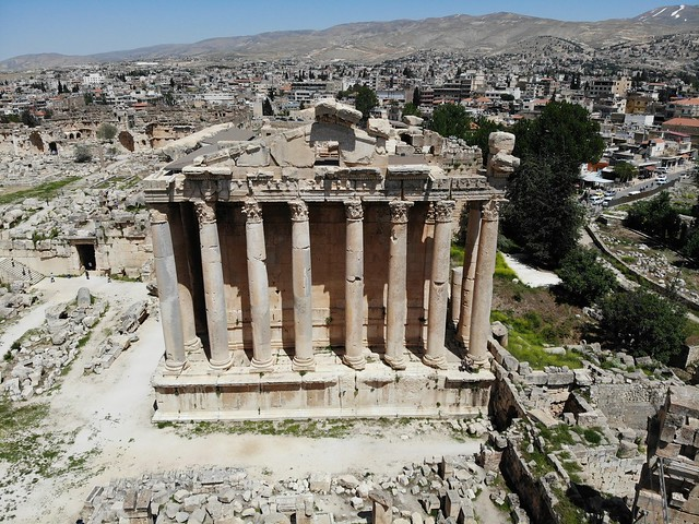 Great view from above.Created by Drone. Ancient city Baalbek. Highest antique temple. Lebanon. Pearl of Middle East. Unesco world heritage