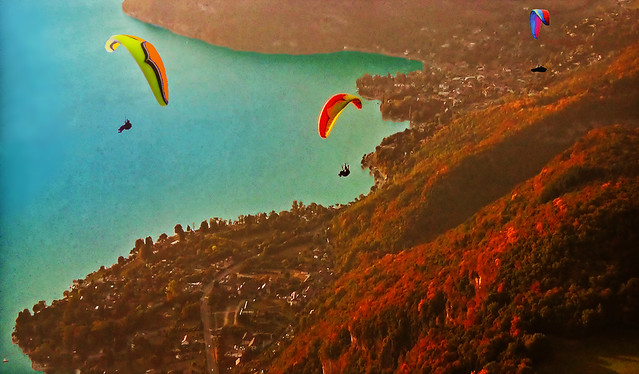 FRANCE - Paragliding... sunset + fall colors
