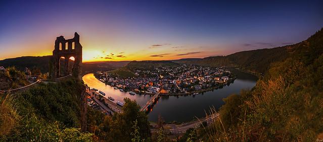 Traben-Trarbach sunset panorama