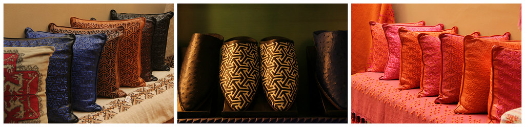 Cushions and slippers, Yves Saint Laurent shop
