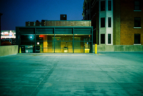detroit michigan parkingdeck emptyspaces newtopographics canona1 lomography800 sunset