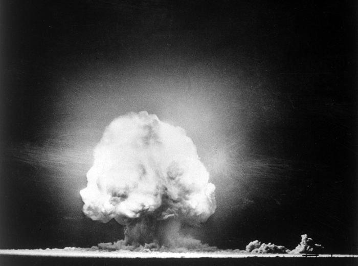 A black and white picture of the Trinity test.