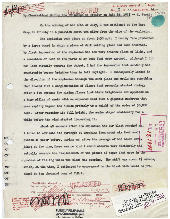 A letter in which Enrico Fermi describes the observations he made at the Trinity test on 16 July 1945.