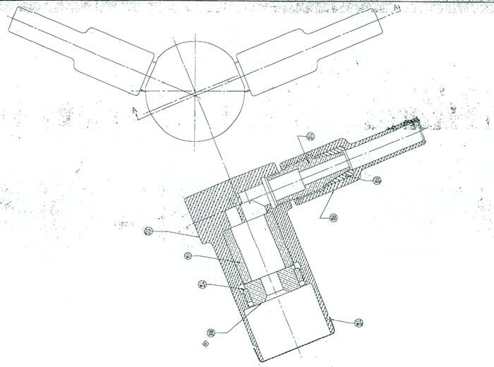 A drawn diagram of an original exploding-bridgewire.