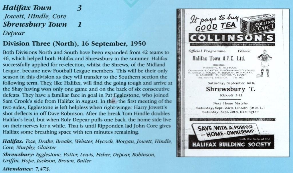 16-09-1950 Halifax Town 3-1 Shrewsbury Town