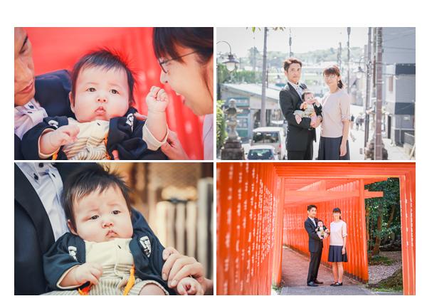 お宮参り 赤い鳥居の下で家族の写真