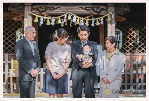 お宮参り 深川神社(愛知県瀬戸市) 家族・親族の集合写真