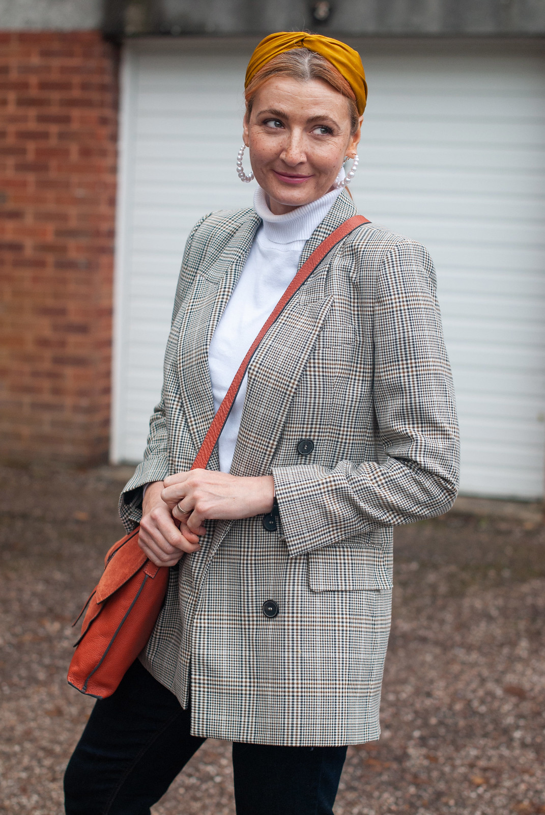 A Classic Preppy Look of Check Blazer, Roll Neck and Jeans | Not Dressed As Lamb, Over 40 Fashion and Style