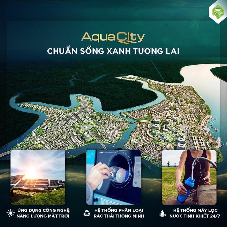 Tại khu đô thị sinh thái ven sông Aqua City, khoảng 70% diện tích đều được quy hoạch khoa học, đồng bộ ưu tiên cho mảng xanh và tiện ích chung.
