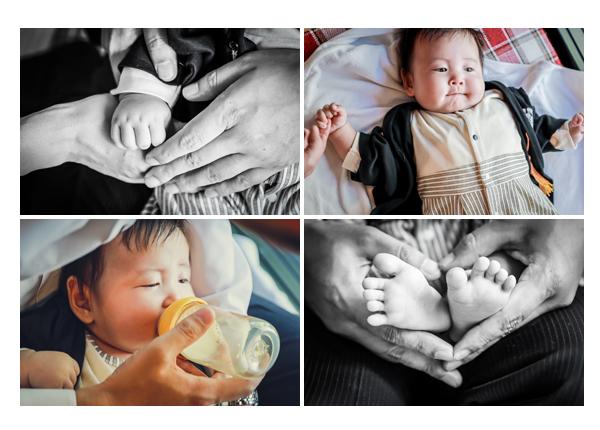 100日祝い 赤ちゃんの手や足のアップ写真 ミルクを飲むところ
