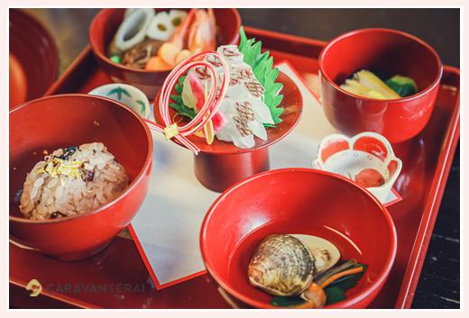 お食い初め料理 木曽路 お造り 蛤のお吸い物 赤飯 煮物 海老