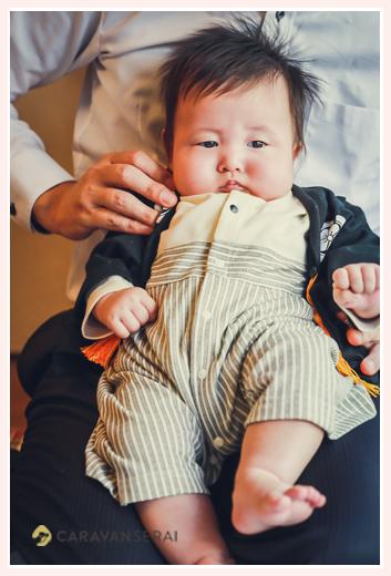 100日祝い 男の子の服装 羽織袴風ロンパース 黒