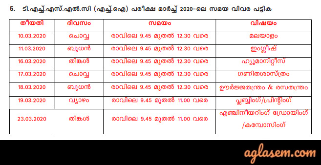 Kerala THSLC Time Table 2020 (Released) - Download Here