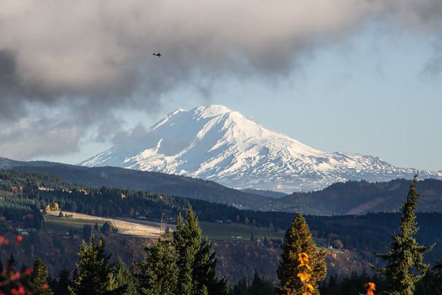 Mt Adams and airplane