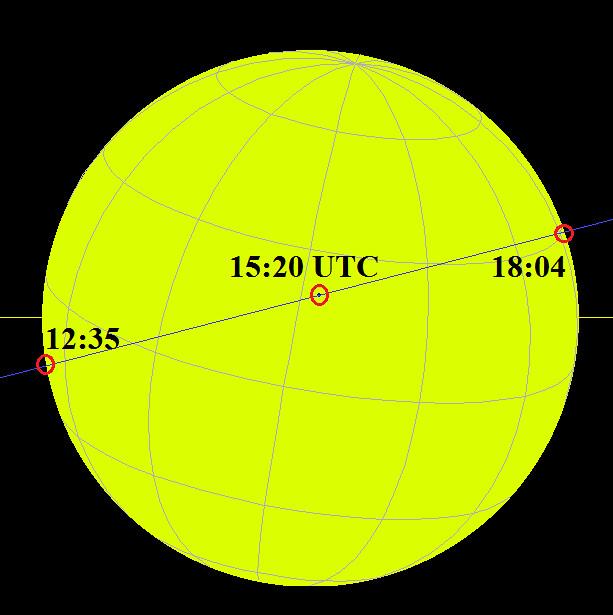 VCSE - A napkorong és rajta a Merkúr helyzete különböző időpillanatokban a jelenség folyamán. Az időpontok UT-ben vannak feltüntetve az ábrán, ami a mi KöZEI-nknél egy órával kevesebb (UT = KöZEI - 1 óra). - Forrás: wikipedia