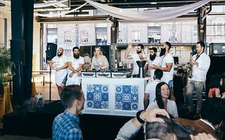 DJ and knafeh bakery folks