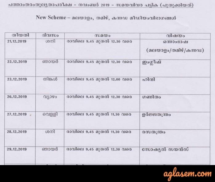 Kerala 10th Equivalency Time Table Nov 2019