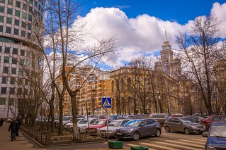 """Весна в Москве / Spring in Moscow (""""Triumph Palace"""" living skyscraper at the background)"""