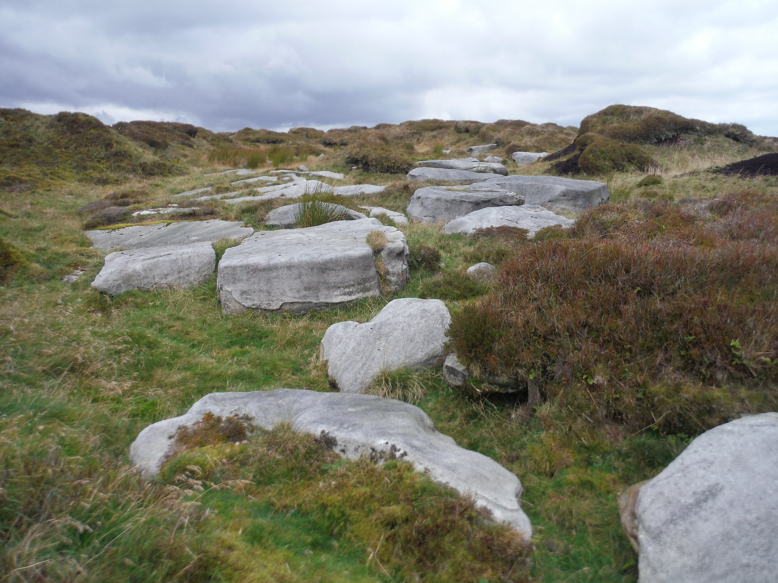 Big Slabs of Gritstone dotted about in mildly undulating moorland: Bleaklow SWC Walk 350 - Fairholmes Circular (via Bleaklow and Derwent Head)