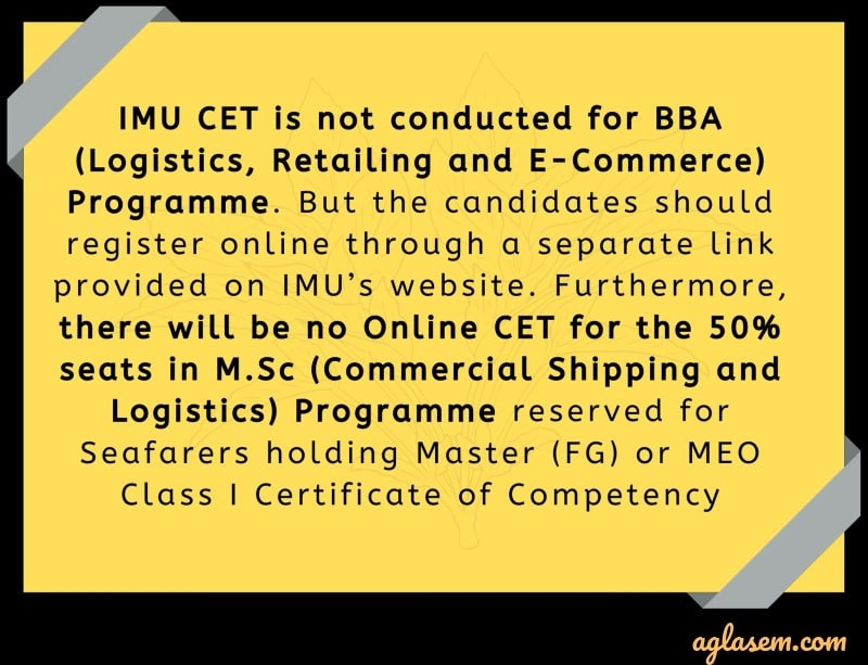 IMU CET 2020 courses offered