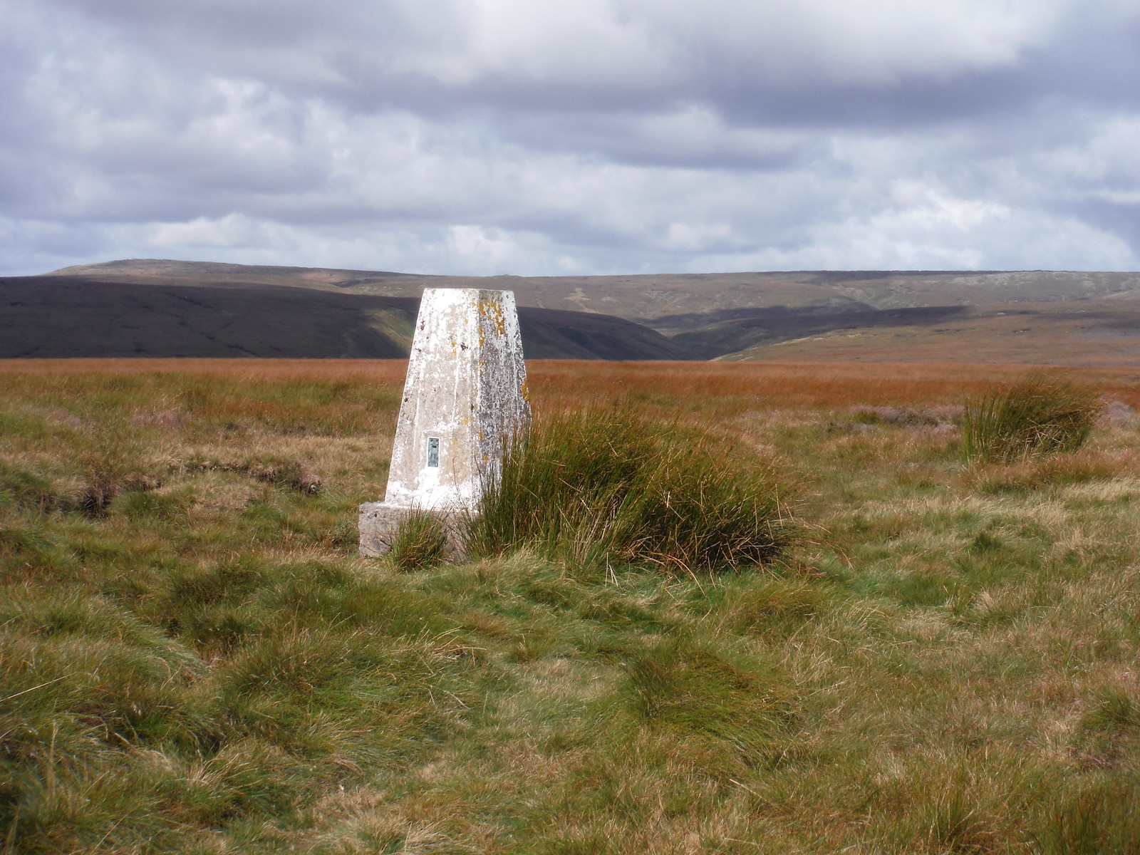 Trig Point on Westend Moor, with Bleaklow beyond SWC Walk 350 - Fairholmes Circular (via Bleaklow and Derwent Head)