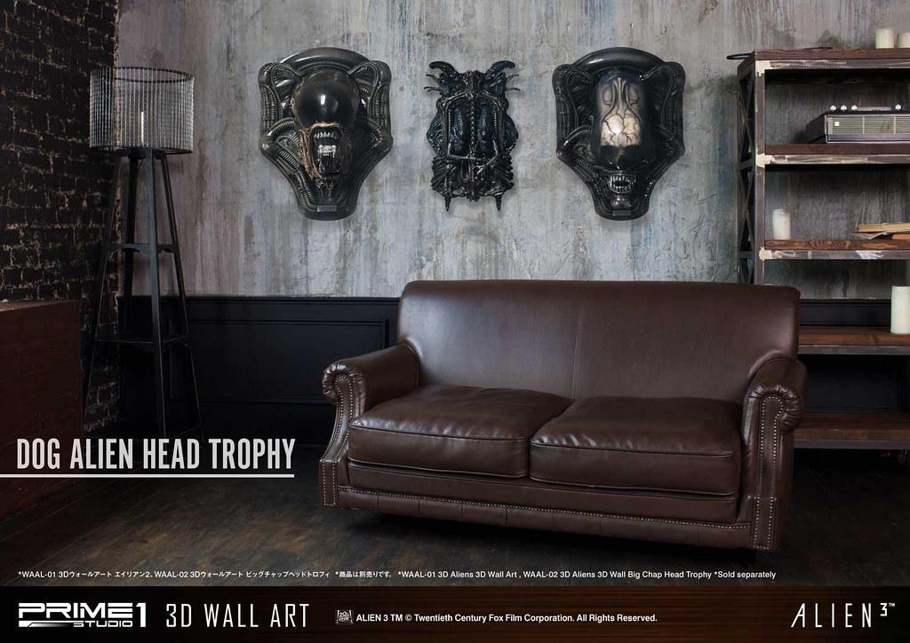 Prime 1 Studio 3D Wall Art 系列《異形3》異形狗 頭部擺飾 ドッグエイリアン ヘッドトロフィ WAAL-03 1:1 比例藝術裝置 開嘴版/闔嘴版