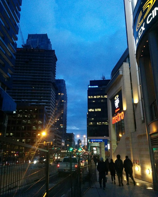 Looking south, Yonge at Eglinton #toronto #yongestreet #yongeandeglinton #blue #twilight #latergram