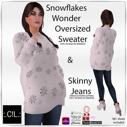 :.C!L.: Snowflakes Wonder Oversized Sweater & Jeans Set Poster