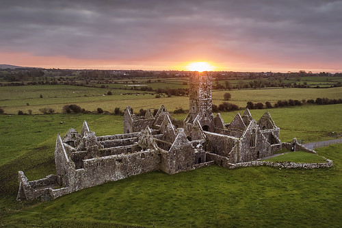 rosserrillyfriary ross errilly friary ruin ruins church sun sunrise dawn galway ireland sky clouds