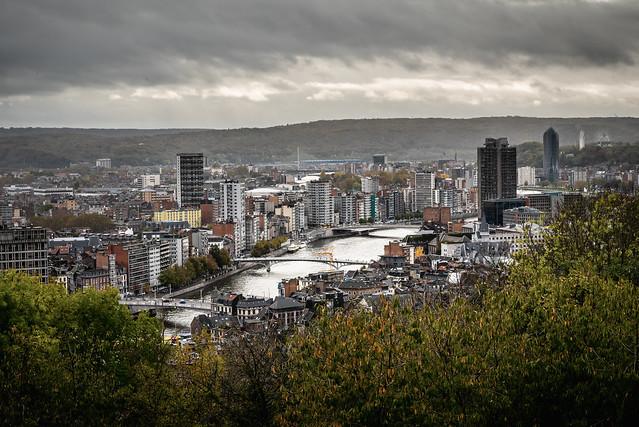 Liège city on a rainy autumn day