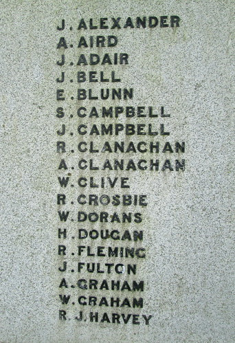 Great War Names Glenluce War Memorial
