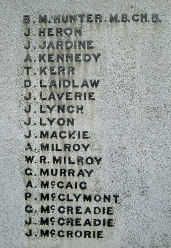 Glenluce War Memorial Great War Names