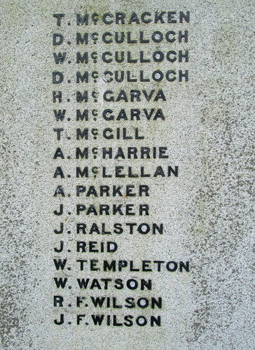 More Great War Names Glenluce War Memorial
