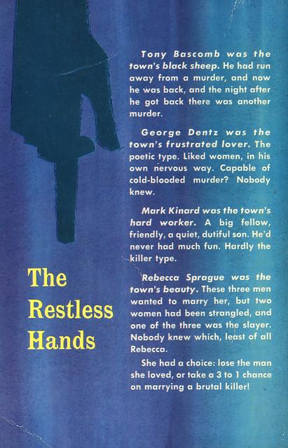 Dell Books 910 - Bruno Fischer - The Restless Hands (back)