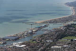 Overhead Brighton looking towards Southwick, the river Adur and Shoreham Port in East Sussex - aerial image