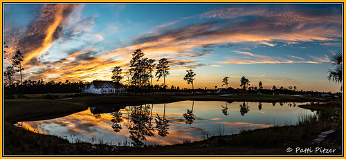 leland northcarolina clouds golfcourse pond reflections sunset trees