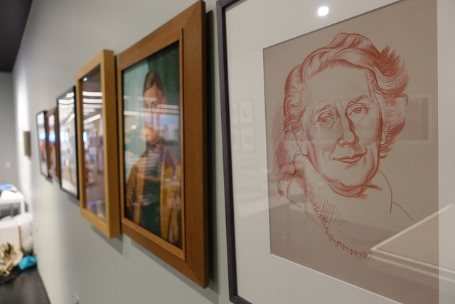 Line up of The Group portraits, Ngaio Marsh at right