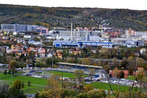 Jena: view from Kernberge on Ernst-Abbe-Sportfeld