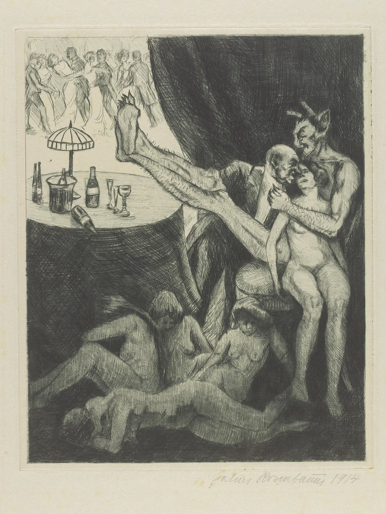 Julius Rosenbaum - Illustration from 'Judith' by C. F. Hebbel, entitled 'The Devil as Matchmaker'.  1922