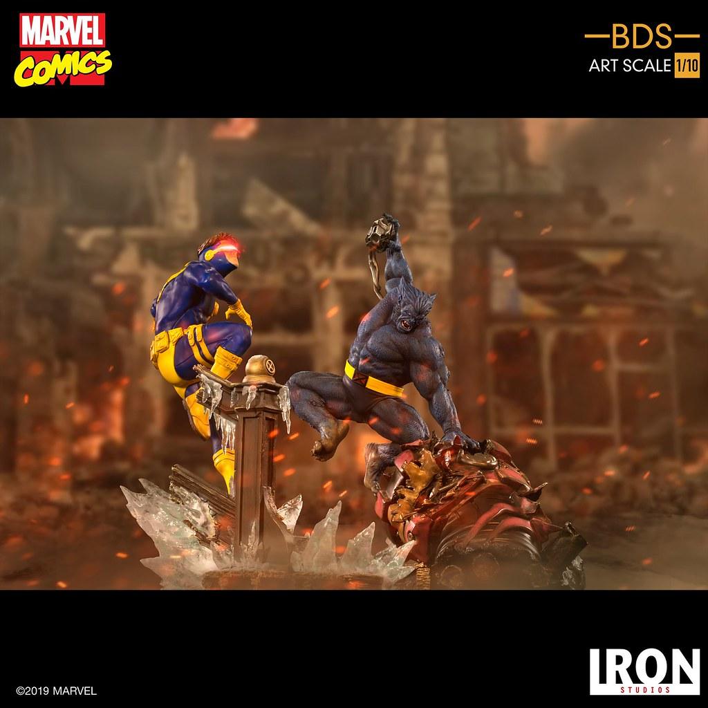 對哨兵機器人頭部給予致命重擊! Iron Studios Battle Diorama 系列 Marvel Comics【野獸】Beast 1/10 比例雕像