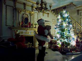 Santa places gifts