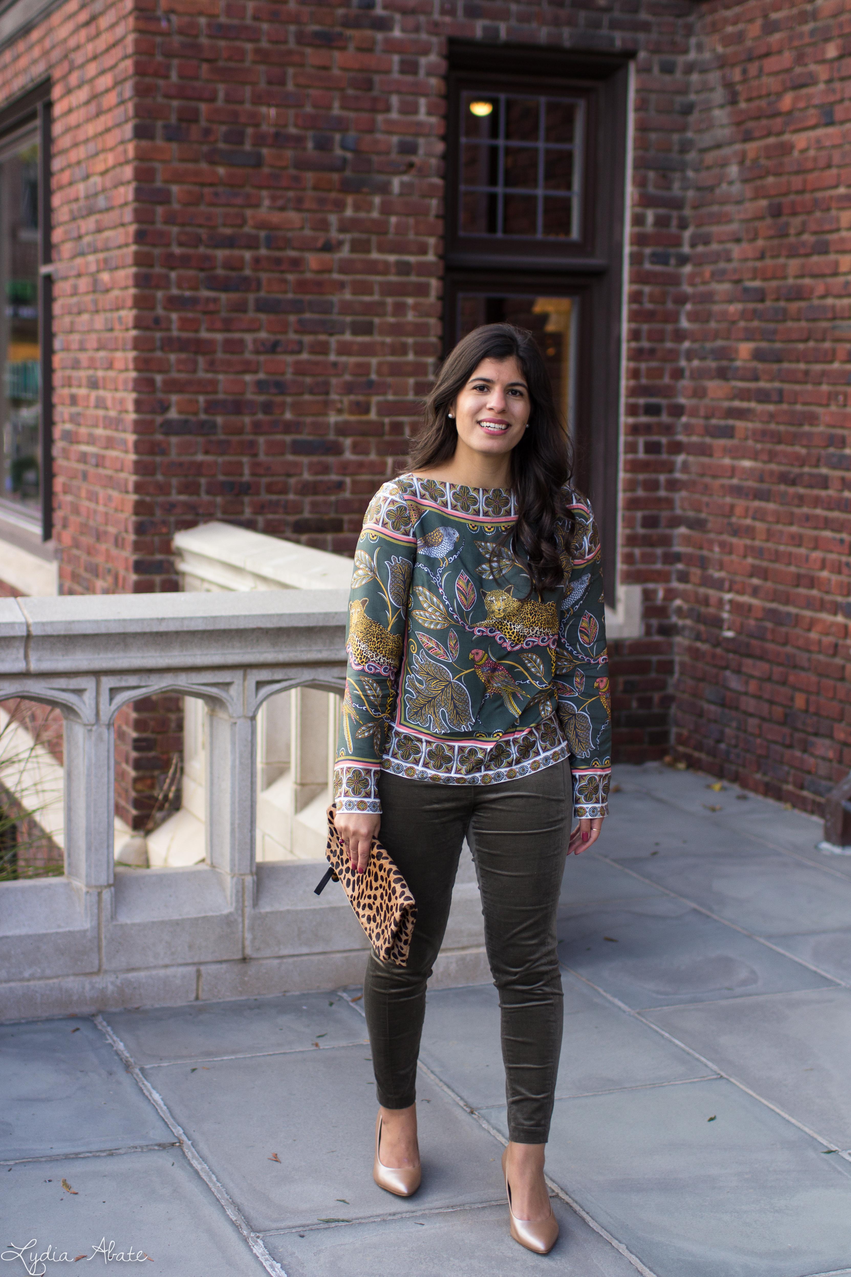 jungle print top, leopard clutch, green velvet pants, nude heels-7.jpg