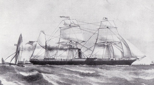 Inman Line steamship City of Glasgow built in 1850 and lost in 1854.