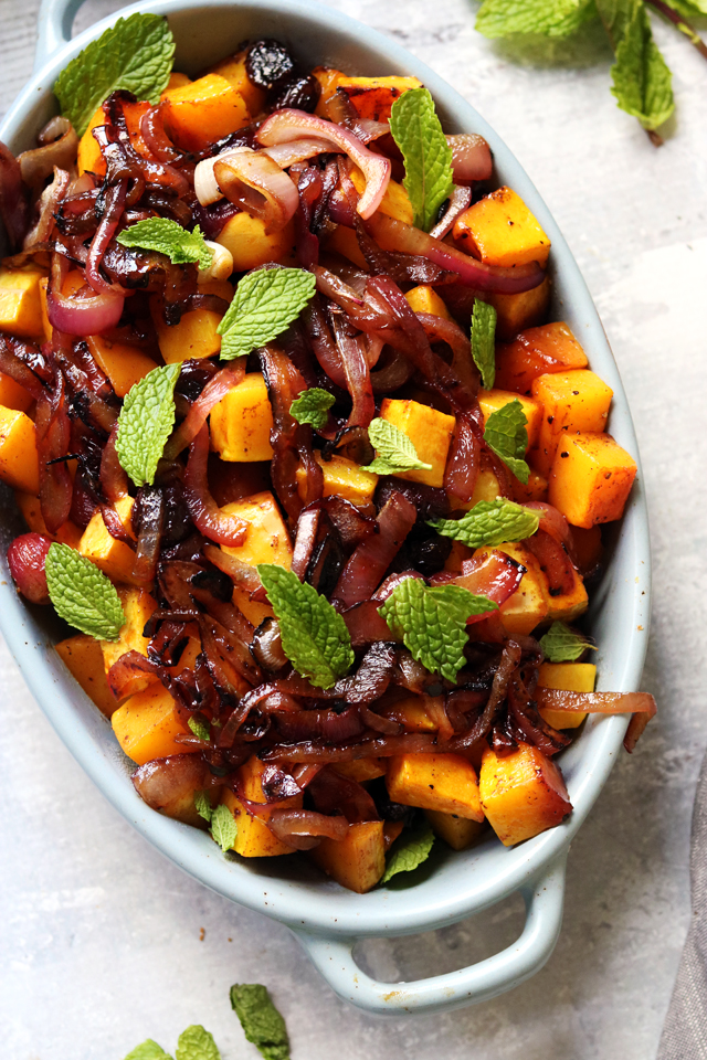 Roasted Winter Squash and Grapes with Maple Pomegranate Glaze