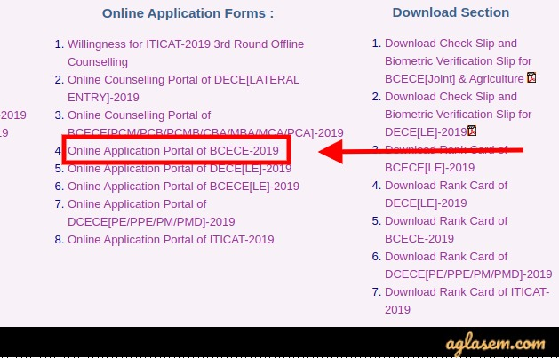 BCECE 2020 Counselling - Schedule, Allotment Letter