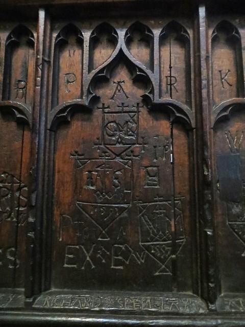 Graffitis sur les stalles, XVe, cathédrale de la Sainte Trinité, (XIIe-XIIIe), Carlisle, Cumbria, Angleterre, Royaume-Uni