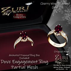 Zuri's Dove Engagement Ring P-Mesh Cherry Wine-Gold