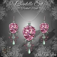 Zuri's Chantelle Set P-Mesh SeaRose-Pink